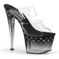 STARDUST-702T Pleaser high heels tinted platform two band slide black-clear rhinestones