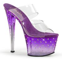 STARDUST-702T Pleaser high heels tinted platform two band slide purple-clear rhinestones