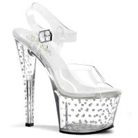 STARDUST-708 Pleaser High-Heels Plateausandaletten transparent mit Strass besetzt