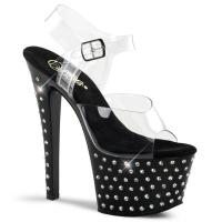 STARDUST-708 Pleaser High-Heels Plateausandaletten transparent schwarz