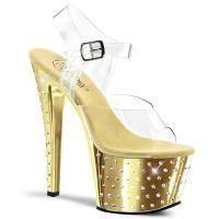 STARDUST-708 Pleaser High-Heels Plateausandaletten klar gold Chrom mit Strass