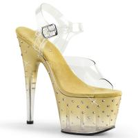 STARDUST-708T Pleaser high heels platform sandal tinted clear gold rhinestones
