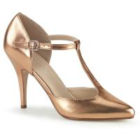 VANITY-415 Pleaser Damen High-Heels T-Riemchen Pumps roségold Metallic Lederlook