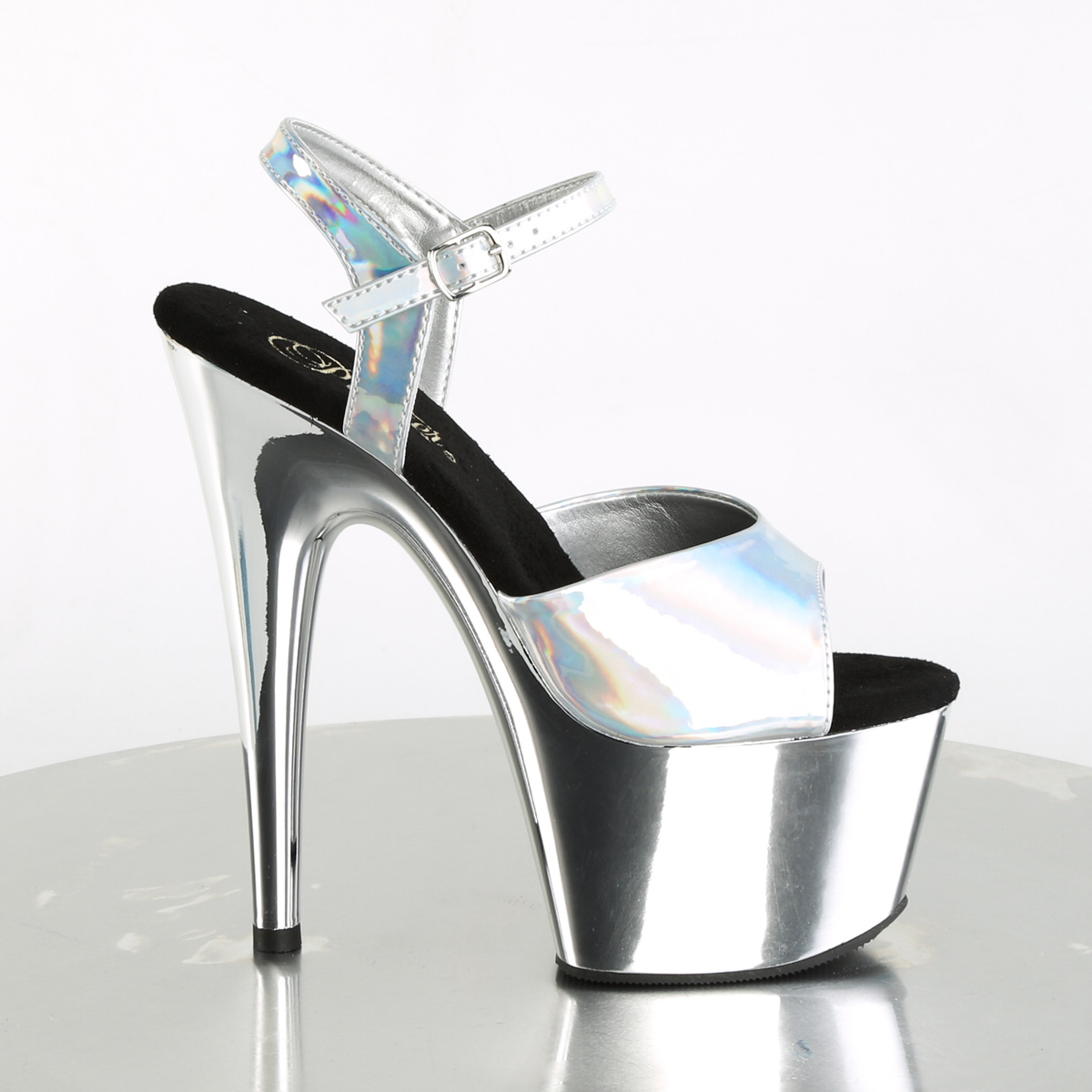 Pleaser Adore-709HGCH Turquoise Hologram Chrome Plated Ankle Strap Sandal