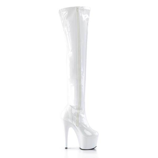 ADORE-3000 Pleaser High-Heels Platform Overknee Boots white Stretch Patent