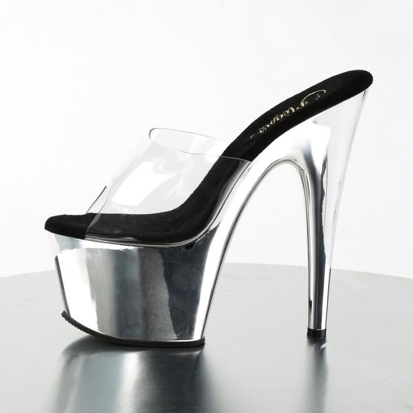 ADORE-701 Pleaser High-Heels Plateaupantoletten transparent silber Chrom