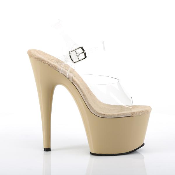 ADORE-708  Pleaser high heels platform ankle straps sandal clear cream