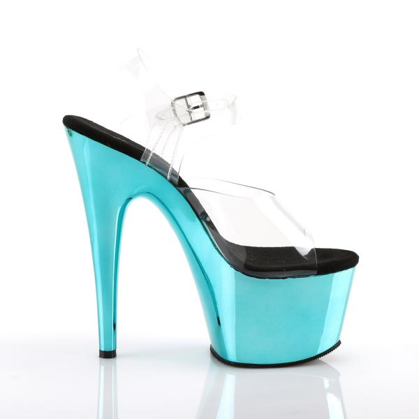 ADORE-708 Pleaser high heels platform ankle strap sandal clear turquoise chrome