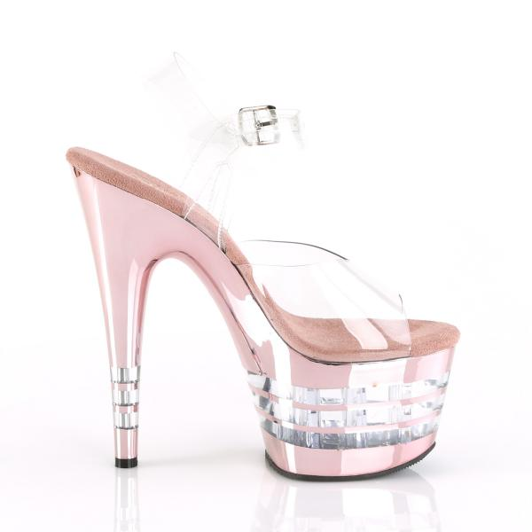 ADORE-708CHLN Pleaser high heels lined platform sandal clear rose gold chrome