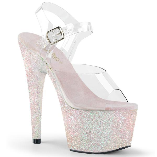 ADORE-708HMG Pleaser high heels sandal clear opal holographic mini glitter