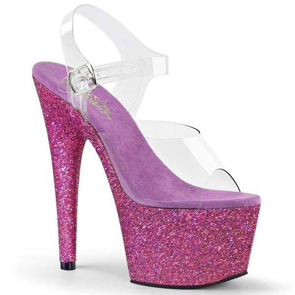 ADORE-708HMG Pleaser high heels sandal clear purple holographic mini glitter