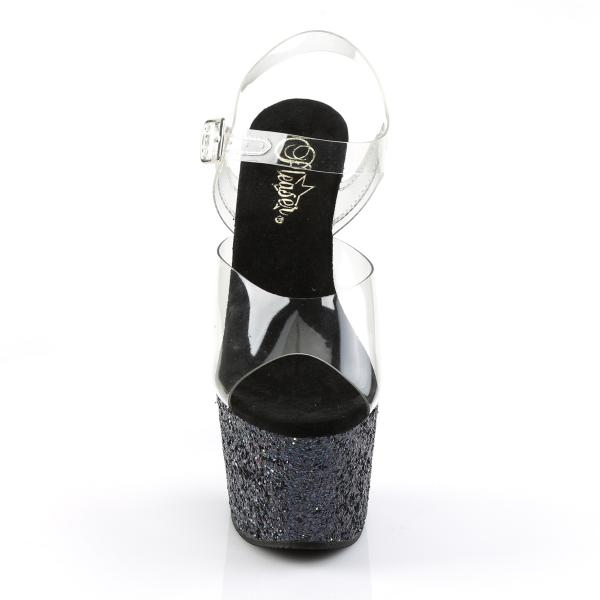 ADORE-708LG Pleaser high heels platform sandal clear black holographic multi glitter