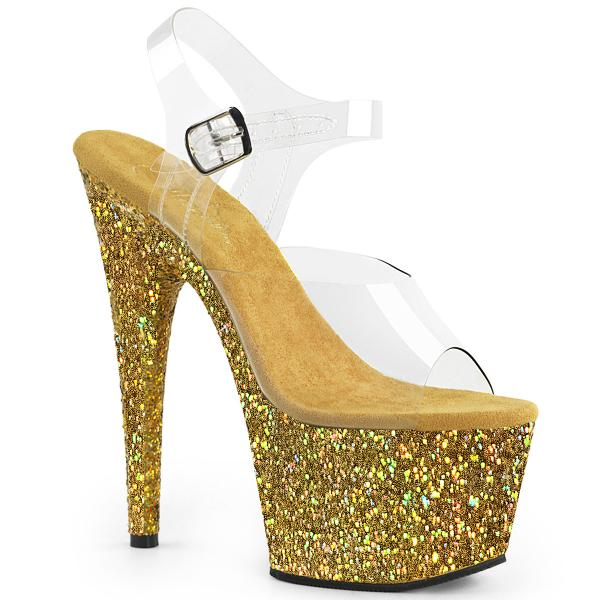 ADORE-708LG Pleaser high heels platform sandal clear gold holographic multi glitter