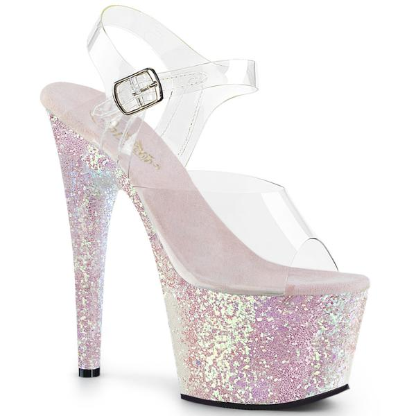 ADORE-708LG Pleaser high heels platform sandal clear opal holographic multi glitter