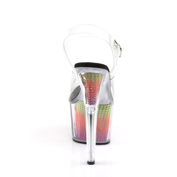 ADORE-708SRS Pleaser High Heels platform sandal clear neon multi color simulated rhinestones