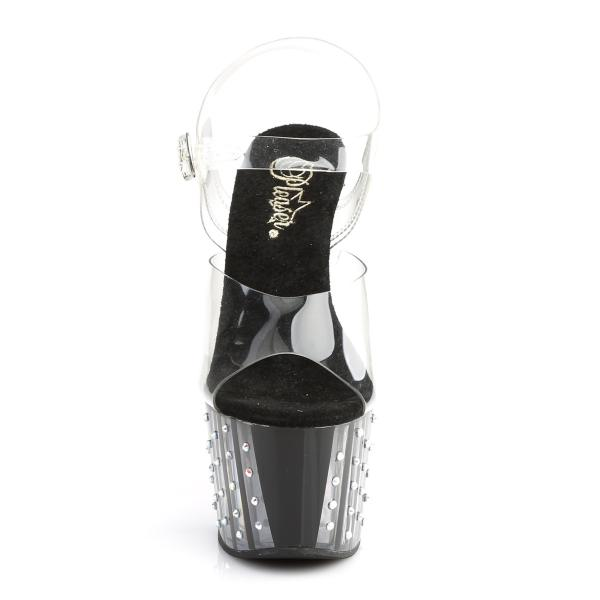 ADORE-708VLRS Pleaser High Heels lined platform sandal clear black rhinestone