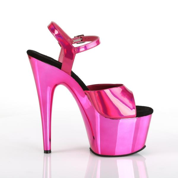 ADORE-709HGCH Pleaser high heels sandal hot pink hologram chrome