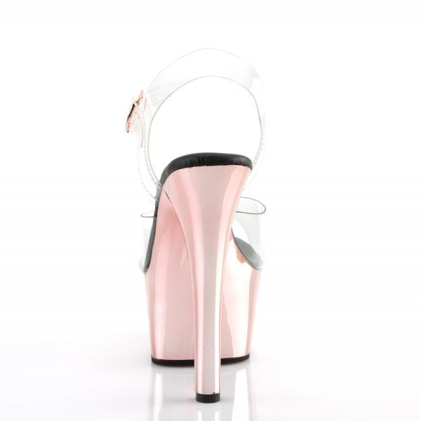 ASPIRE-608 Pleaser high heels platform ankle strap sandal clear rose gold chrome