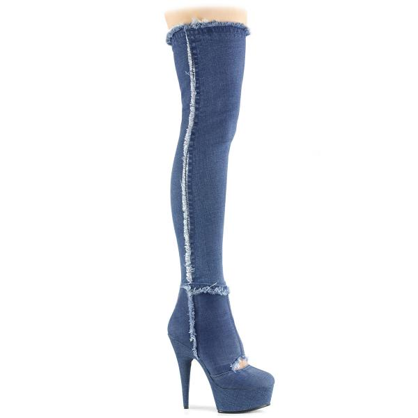 DELIGHT-3007 Pleaser High Heels platform overknee cutout boots denim blue
