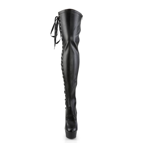 DELIGHT-3050 Pleaser High Heels platform thigh high boot black matte side lace-up