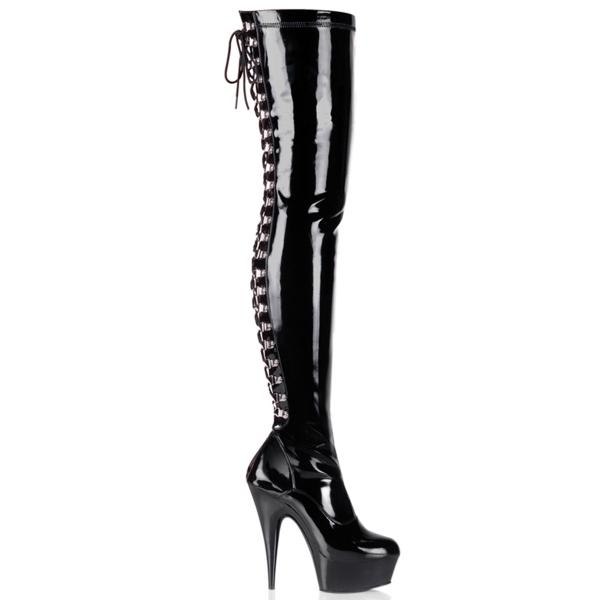 DELIGHT-3063 Pleaser High Heels platform thigh high boot black patent side lace-up back