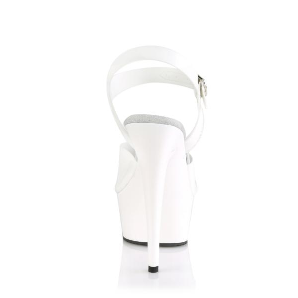 DELIGHT-608N Pleaser High Heels platform ankle strap sandal white