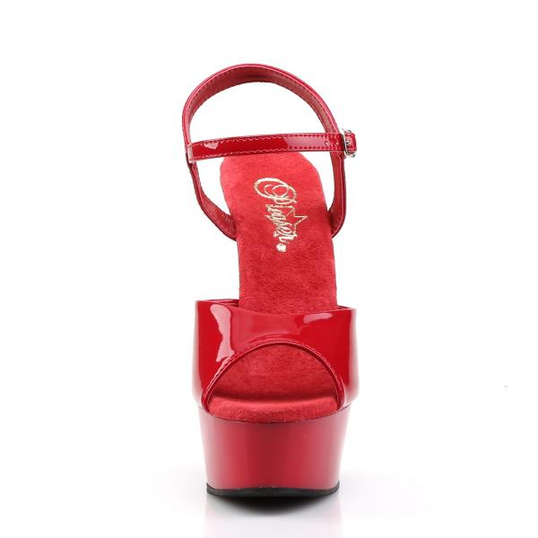 DELIGHT-609 Pleaser High Heels platform ankle strap sandal red patent