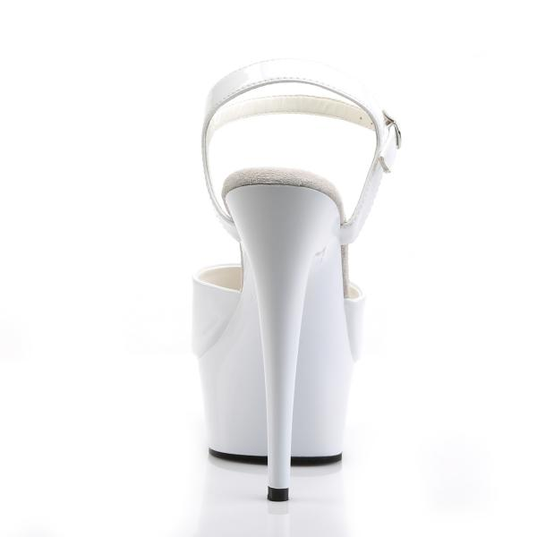 DELIGHT-609 Pleaser High Heels platform ankle strap sandal white patent