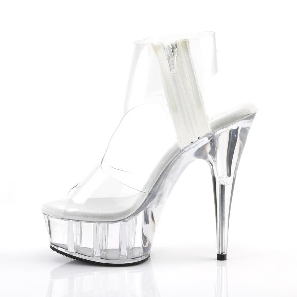 DELIGHT-633 Pleaser high heels platform T-Strap bootie sandal transparent