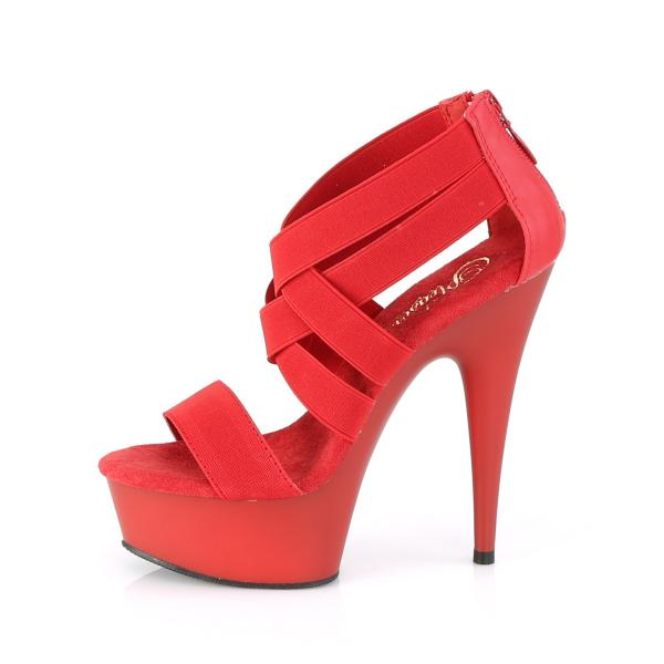 DELIGHT-669 Pleaser high heels platform criss cross sandal elastic straps red