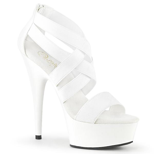 DELIGHT-669 Pleaser high heels criss cross sandal elastic straps white