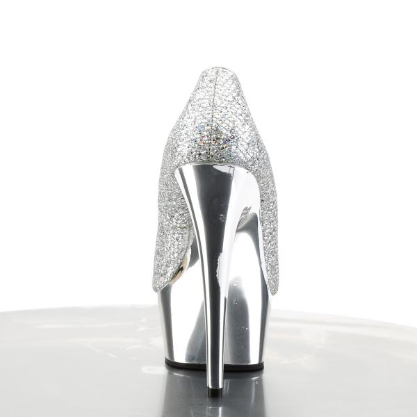 DELIGHT-685G Pleaser high heels chrome plated platform pump silver multi glitter