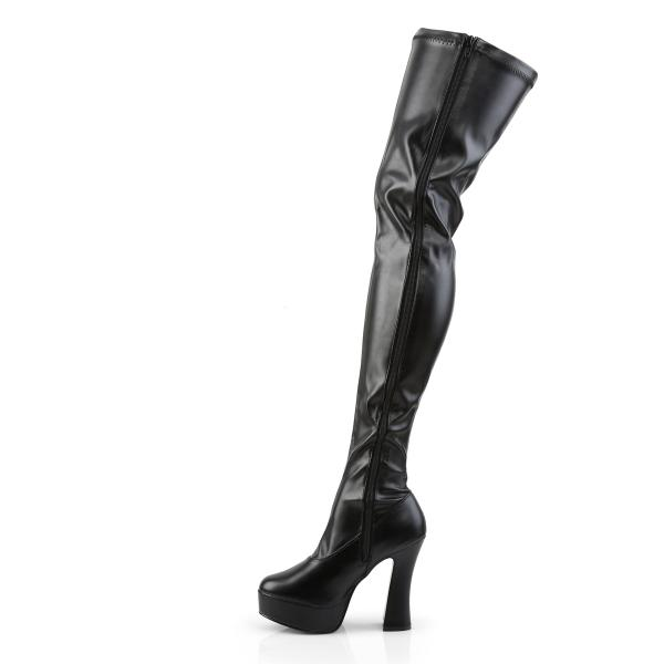 ELECTRA-3000Z Pleaser high heels platform thigh high boots black stretch vegan leather