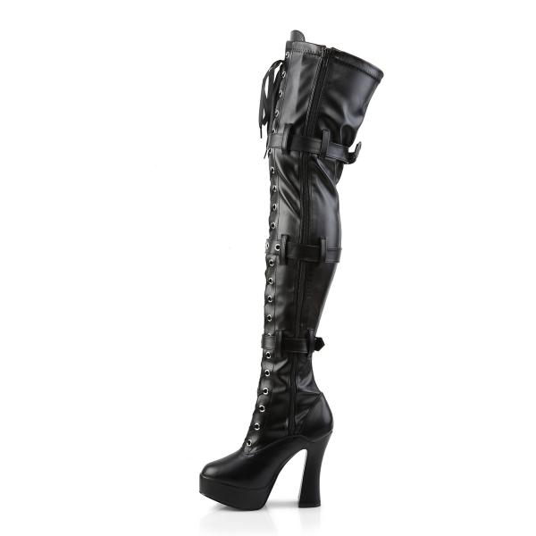 ELECTRA-3028 Pleaser high heels platform thigh high boots black stretch matte