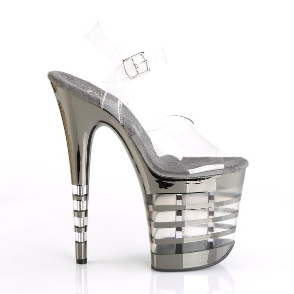 FLAMINGO-808CHLN Pleaser high heels lined platform sandal clear pewter chrome