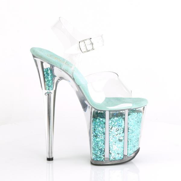 FLAMINGO-808GF Pleaser high heels platform sandal clear turquoise holographic glitter