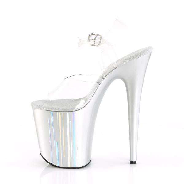 FLAMINGO-808HP-1 Pleaser high heels platform sandal clear silver holographic lines