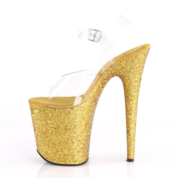 FLAMINGO-808LG Pleaser High-Heels Plateau Sandaletten klar gold multiglitter
