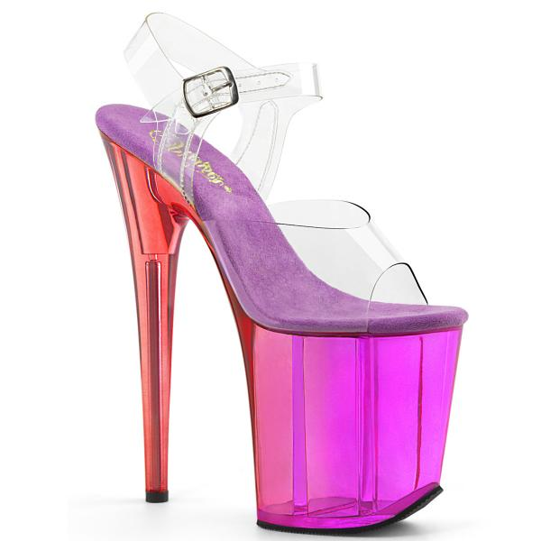 FLAMINGO-808MCT Pleaser high heels platform sandal clear purple tinted