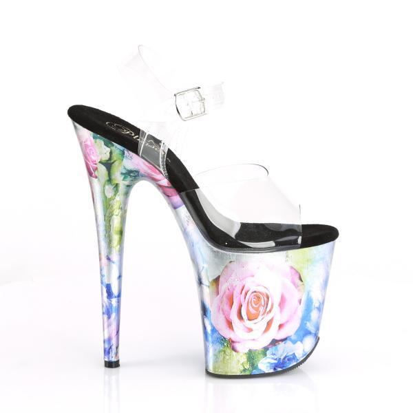 FLAMINGO-808MRP Pleaser High-Heels Plateau Sandaletten klar metallic rosenprint
