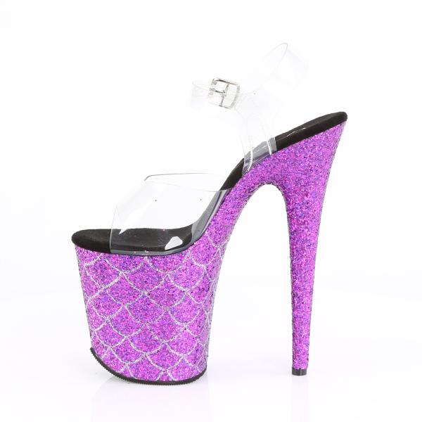 FLAMINGO-808MSLG Pleaser high heels platform sandal clear purple multi glitter