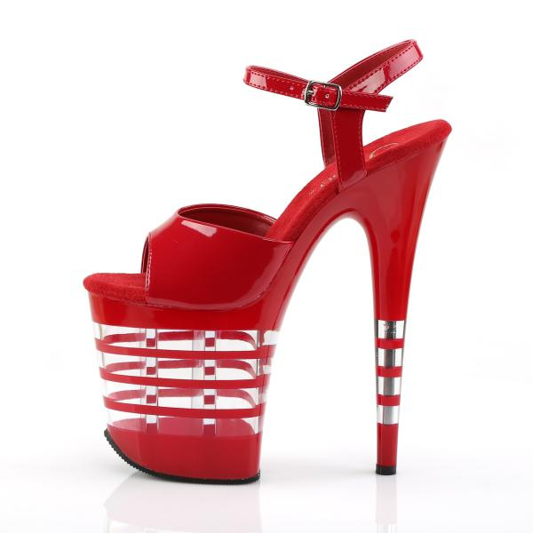 FLAMINGO-809LN Pleaser high heels lined platform sandal red patent