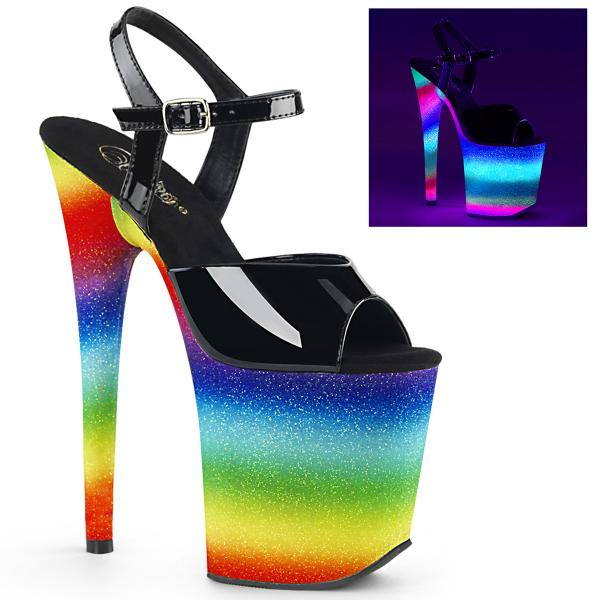 FLAMINGO-809WR Pleaser high heels ankle strap sandal black patent uv reactive rainbow glitter