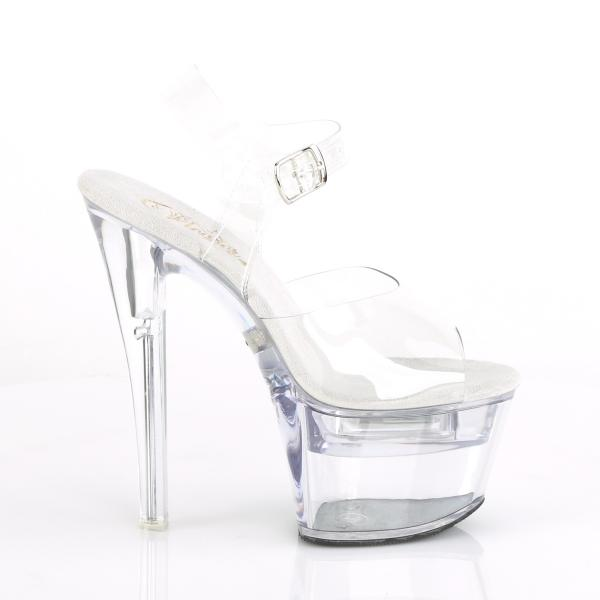 FLASHDANCE-708 Pleaser LED Effekte High-Heels Sandaletten durchsichtig