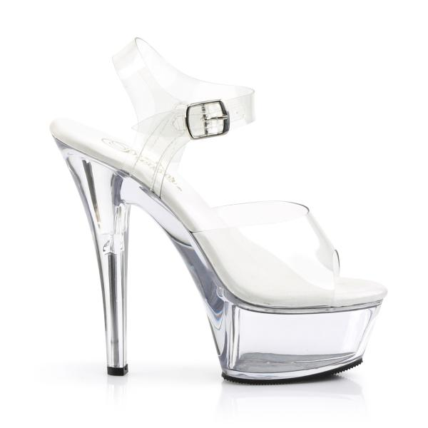 KISS-208VL Pleaser High-Heels Plateausandaletten transparent vegane Innensohle