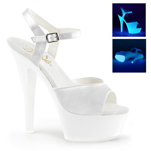 KISS-209UV Pleaser high heels platform sandal satin neon uv reactive white