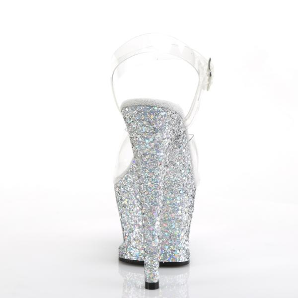 MOON-708LG Pleaser high heels sandal cut-out platform clear silver multi glitter