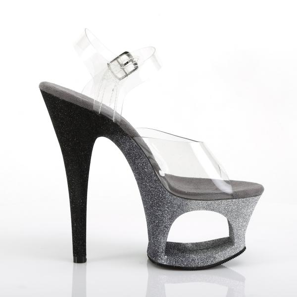 MOON-708OMBRE Pleaser high heels sandal cut-out platform clear silver-black ombre