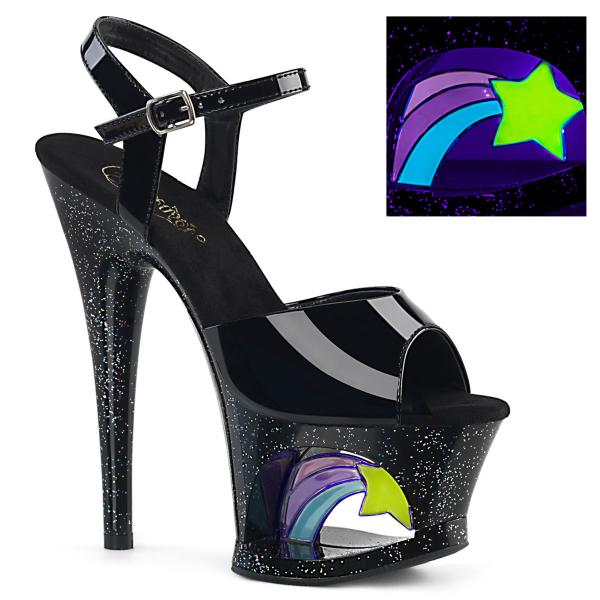 MOON-709RSS Pleaser high heels sandal cut-out platform black patent uv shooting star