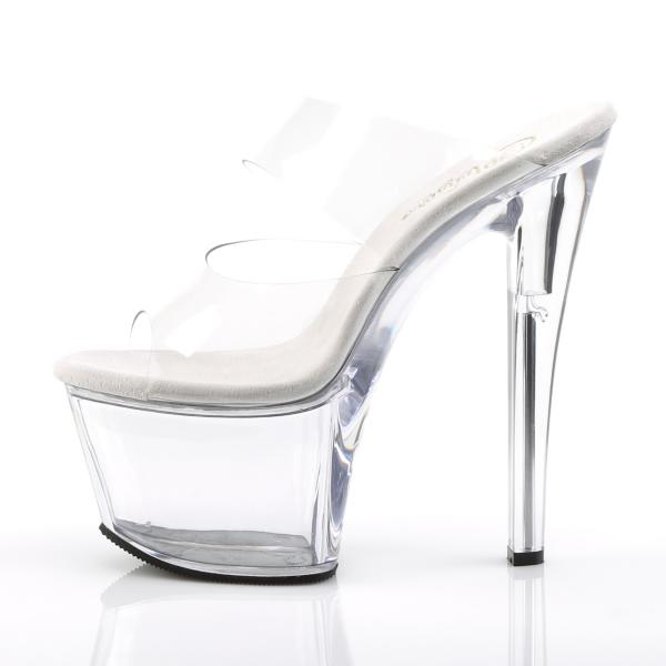 SKY-302 Pleaser high heels platform two-band slide transparent